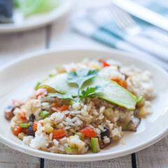 Кабачки с грибами, сыром «Моцарелла» и рисом